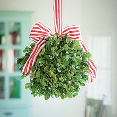 May you find yourself under some Mistletoe today to help make your Monday Merry! Mistletoe Kissing Ball Hanging Ball How-To Felted Mistle. Merry Little Christmas, Noel Christmas, Homemade Christmas, Winter Christmas, All Things Christmas, Xmas, Holiday Crafts, Holiday Fun, Mistletoe Diy