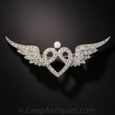 Edwardian Winged Heart Brooch - 50-1-4810 - Lang Antiques