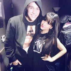 Austin Mahone and Becky G. I'm thinking about bangs like that but I dont know of they go with my face shape.... I like them tho
