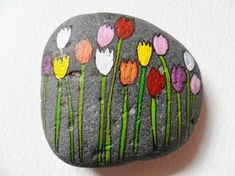 Decorative Rocks : Spring tulips Hand painted paperweight Acrylic miniature painting on a large beach pebble Pebble Painting, Pebble Art, Stone Painting, Stone Crafts, Rock Crafts, Arts And Crafts, Rock Painting Ideas Easy, Rock Painting Designs, Caillou Roche