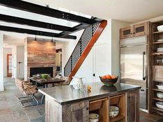 Resource for fireplace cladding how-to, things to note, etc. New Moon Cottage - contemporary - kitchen - new york - Richard Bubnowski Design LLC Reclaimed Wood Kitchen, Wooden Kitchen, Rustic Kitchen, Kitchen And Bath, Recycled Kitchen, Recycled Wood, Vintage Kitchen, Kitchen Dining, Dining Table