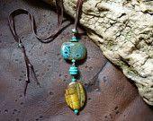 Declaración gitano bohemio collar de turquesa y Ojo de Tigre piedra preciosa Boho estilo gitano - con las gotas de cerámica - Hippie - de los indios americanos