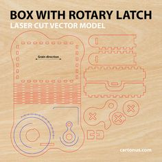 Wooden box with rotary latch. Laser cut project plan. от cartonus