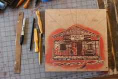 New woodcut commission for the Blue Front Cafe