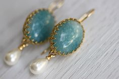 NonnaSoul 24K gold plated earrings with aqua quartz and white majorca pearl $70.00