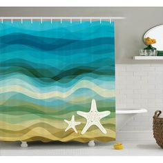 Moana   Land And Sea Are One   Pattern Shower Curtain in 2018     Abstract Home Decor Shower Curtain Set  Abstract Design Modern Illustration  Of Waves Starfish Sandy Beach Aquatic Theme  Bathroom Accessories  X  Inches