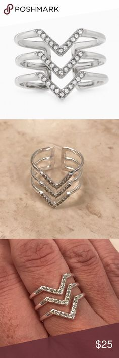 Pave Chevron Ring Silver s/m ring Stella & Dot Jewelry Rings