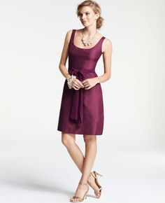 Ann Taylor - Weddings & Events: Dresses, Gowns, Shoes & Accessories: ANN TAYLOR - Silk Dupioni Scoop Neck Bridesmaid Dress in Rich Pomegranite