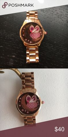 Betsey Johnson watch Rose gold watch with a cute pink owl perched on the moon Betsey Johnson Accessories Watches