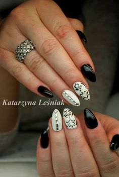 by Kasia Leśniak, Follow us on Pinterest. Find more inspiration at www.indigo-nails.com #nailart #nails #indigo #white #black