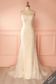 Eugenia - Champagne Lace Mermaid Bridal Gown | Boudoir 1861