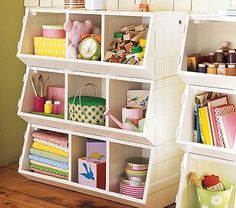 DIY Pottery Barn Storage...unfinished wooden crates from Michaels.  Use a 40% off coupon and you are really saving.