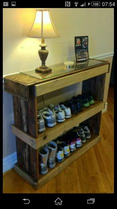 Shoe storage made from old crates