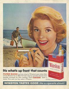 Winston Cigarettes Vintage Cigarette Ads, Vintage Ads, Vintage Posters, Advertising History, Old Advertisements, Famous Ads, Winston Cigarettes, Women Smoking, Old Ads
