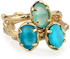 Kendra Scott Oval Stacked Stormy Turquoise Ring