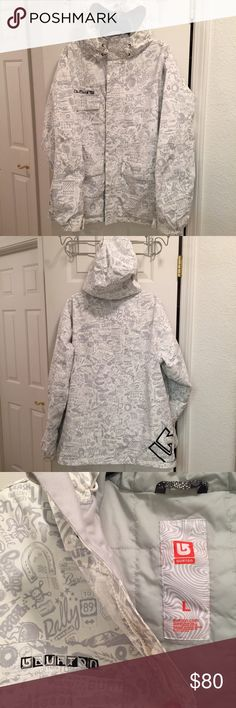 Burton men's snowboarding jacket in gray & white Burton men's snowboarding jacket in white and gray size large. Like new jacket with auto 'blood, sweat and gears' print theme in light gray. Several pockets in and out including an ID holder inside. Perfect for this winter! Burton Jackets & Coats Ski & Snowboard