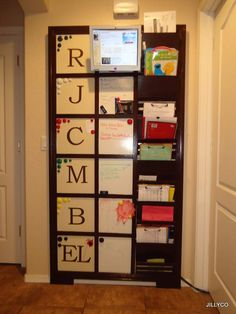 PB Kids Inspired Family Daily Organization Board - instead of initials I would use their full name, in a smaller print Daily Organization, Organization Station, Big Family Organization, Entryway Organization, Household Organization, Organizing Ideas, Ana White, Family Command Center, Command Centers