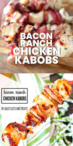 Bacon Ranch Chicken Kabobs These easy Chicken Kabobs are stuffed with crispy bacon and marinaded in a ranch marinade. They are grilled to perfection! This Chicken Kabob recipe makes a quick weeknight meal or. Quick Weeknight Meals, Easy Meals, Easy Summer Dinners, Easy Chicken Meals, Summer Dinner Ideas, Party Summer, Summer Bbq, Summer Food, Chicken Kabob Recipes