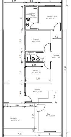 Planta de casa térrea com 3 quartos, planta baixa de casa pequena com 3 quartos 2 banheiro e garagem. Little House Plans, My House Plans, House Layout Plans, Bedroom House Plans, Small House Plans, House Layouts, House Floor Plans, Home Building Design, Home Design Plans
