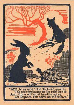 Vintage 1920's Silhouette Fable Illustration Print, Tortoise and Hare, Reynard Fox