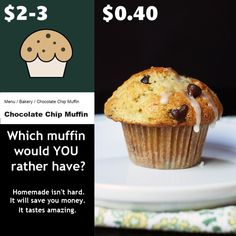 Which muffin would you rather have? The dry, pricey one from the coffee house or the tender, delicious homemade one? Homemade Muffin Mix, Homemade Muffins, Icing Ingredients, Chocolate Chip Muffins, Shopping Tips, Mini Muffins, Vegetarian Chocolate, Frugal Living, Great Recipes