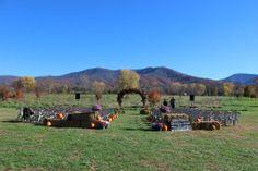 Fall outdoor wedding ceremony in field of dreams - Blue Ridge Mountains - Shenandoah Valley - Luray, Virginia - Khimaira Farm wedding venue