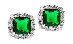 image for 3.50 CTTW Cushion Cut Emerald Halo Stud Earrings