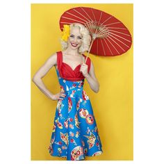 Top off the Geisha Fans Honey Dress with a vintage-inspired umbrella!