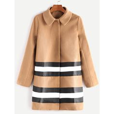 Camel Hidden Button Striped Mixed Media Coat (90 BAM) ❤ liked on Polyvore featuring outerwear, coats, brown, long beige coat, striped coat, long coat, long brown coat and stripe coat
