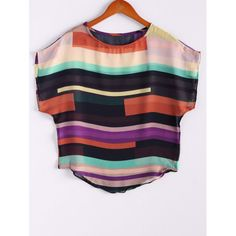 Women's Irregular Chiffon Stripe Splicing Mutli-Color Bat Sleeve Shirt Blouse — 6.96 € Size: L Color: COLORMIX