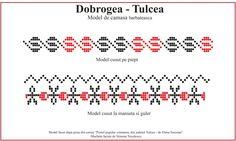 Model de camasa barbateasca din Tulcea, Dobrogea. Folk Embroidery, Hand Stitching, Cross Stitch, Stitch 2, Sewing Patterns, Tips, Blog, Romania, Horses