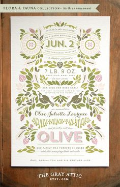 "Beautiful way to tell the story of the day your baby was born and to joyfully share the news with the one's you hold dear. ""Custom Birth Story Announcements"" (Flora & Fauna collection) by Kat Phillips of TheGrayAttic, size A9. Also available in a frame-able 8x10 print!"