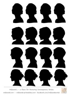 Female Faces Silhouette Stencil Template at www.milliande-printables.com/female-face-silhouette-stencil.html , Free to print and download