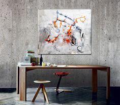 Decorative Living Room Art, Modern Abstract Painting, Original 100% Handmade Canvas Painting, Abstract Canvas Art, Modern Living Room Decor, Large Abstract Painting. Original Painting by Gabi Ger Acrylic painting on Canvas The painting was made using Amsterdam Acrylic Colors by Royal Talens, on proofed quality cotton Canvas, Magazines, Collage, Extra Heavy Gel, Different Brushes, Painting Knife. Finishing with special water base, acrylic lacquer. Colors: orange, black, white, different…