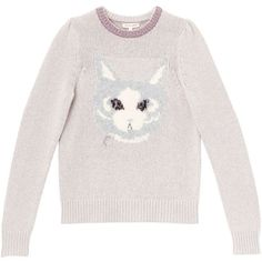 Cat Instarsia Pullover (20,345 DOP) ❤ liked on Polyvore featuring tops, sweaters, rebecca taylor, pink top, cat print sweater, rebecca taylor sweater and cat print top