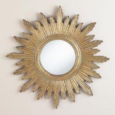 "23"" Large Antique Gold Leila Sunburst Mirror   World Market"