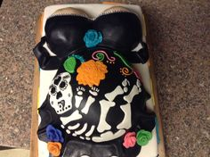 Baby Shower Pregnant Belly Mexican Dia De Los Muertos (day of the dead) Cake by Moniet