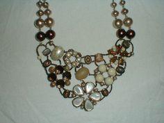 chicos statement necklace nwt bib pearls topaz copper brown