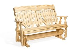 Amish Pine Wood High Back Heart Outdoor Glider Bench from dutchcrafters.com