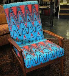 Oringinal retro chair refurbished in my own designed fabric. Art Decor, Home Decor, Accent Chairs, Colour, The Originals, Retro, Fabric, Furniture, Design