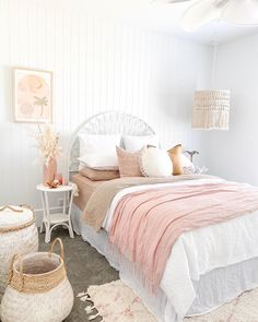 """The Coastal Barn Dream on Instagram: """"I seriously love walking past my daughter's room. The amount of light it receives and the beautiful, soft subtle colours throughout the…"""" White Bedroom, Girls Bedroom, Bedrooms, Daughters Room, To My Daughter, Peach Color Palettes, Home Renovation, Cribs"""