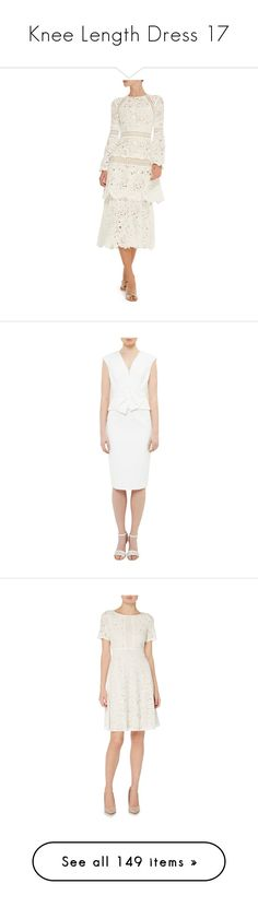 """""""Knee Length Dress 17"""" by kimmeke-sascha ❤ liked on Polyvore featuring dresses, tiered dress, white pleated dress, pleated dresses, marni dress, white long sleeve dress, fit and flare dress, lace dress, fit flare dress and lacy white dress"""