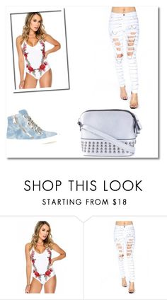 """""""Enjoy the moment"""" by amiclubwear ❤ liked on Polyvore featuring crossbodybag, sneakers, embroidery, amiclubwear and chainjeans"""