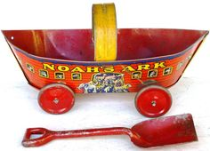 "VINTAGE 40's TIN LITHO ""NOAH'S ARK"" SAND PAIL/PULLEY & SHOVEL WHEELS & HANDLE #UNKNOWN"