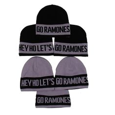 0a3cf3f812788 Fully custom-knit reversible jacquard winter hat with HEY HEY LET S GO  RAMONES design throughout