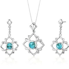 Floral Design 3.75 carats Round Cut Sterling Silver Rhodium Finish Swiss Blue Topaz Pendant Earrings Set Peora. $59.99. Save 75% Off!