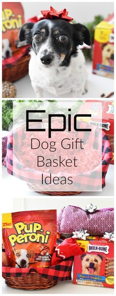 How to Put Together An Epic Dog Gift Basket. Looking for a last-minute holiday idea for the special dog or dogs in your life? Get inspired with these epic dog gift basket filler ideas and make your special furry friend jump for joy this holiday!  via @savvysavingcoup #AD @Pupperoni @milkbone @walmart