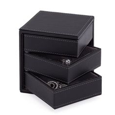 Contempo Faux Leather 3-Swing Jewellery Box     Modern faux leather storage accessories for the home.       Height: 4.50 inches  Width: 4.25 inches     Length: 4.25 inches