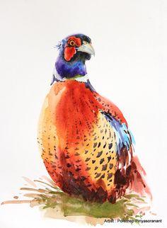 Faisán Ave pintura acuarela pintura acuarela por OrientalArt2029                                                                                                                                                                                 Más