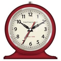 "Need help staying awake at the office? Check out our tabletop clock! Features:  -Material: Plastic.  -Color: Red.  -Battery operated: Yes.  Product Type: -Tabletop.  Time Display: -Analog.  Finish: -Red.  Alarm: -Yes. Dimensions:  Overall Height - Top to Bottom: -5.5""."
